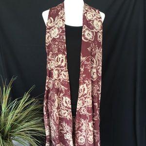 New! LuLaRoe Joy Vest Size Small 6/8 Maroon Floral